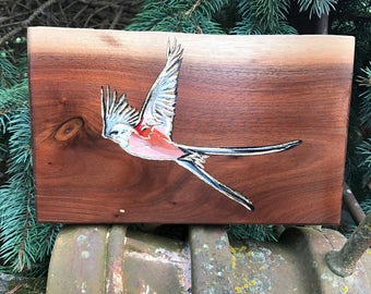 Scissor-tailed Flycatcher ~ Oklahoma ~ Rustic Art ~ Hand Carved ~ Hand Painted ~ Gilded