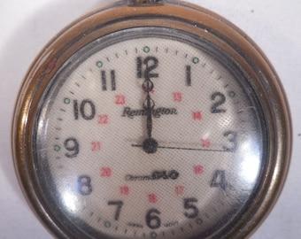 Vintage Remington ChromaGlo Pocket Watch, Japan Movement, For Parts or Repair