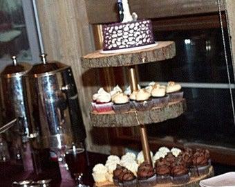 Custom cake stand, cupcake stand, rustic stand, wedding cake stand, live edge