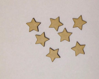 50 x Wooden Star Embellishments