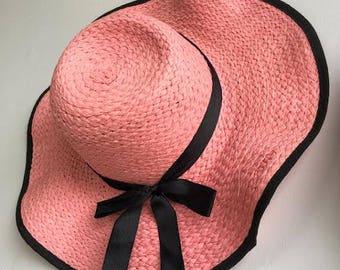 Floppy Straw Sun Hat // Floppy Beach Hat // Black Ribbon Straw Hat // Pink Beach Hat