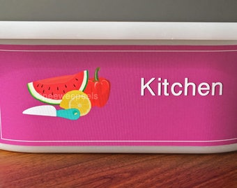 Kitchen Label, play food toy storage, Toy Bin Decal/Label to organize playroom and classroom, ikea toy storage label