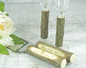 Rustic Wedding Set Unity Candle Champagne Glasses Cake Serving Cutter Deer Rustic Decoration Flutes Unity Candles Knife Cutters