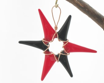 Opaque Black and Red Glass Star Wrapped in Copper Wire
