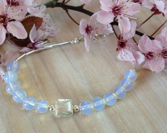 Opalite Beaded Bracelet Opalite Bead Bracelet Luminious Blue Beads Liquid Silver Stacking Bracelet Blue Bracelet June Birthstone Gift