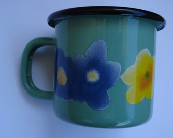 Vintage Cream Green Enamel Mug with Flowers/ Blue Rim enamel Mug/Farm House Kitchen/ Farmhouse Decor /Unused