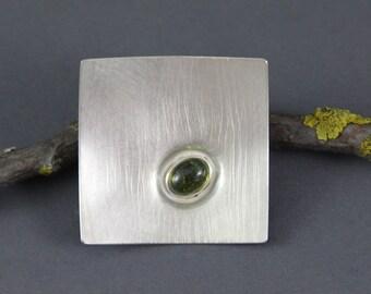 Brooch square tourmaline 925 Silver quartz Verdelith