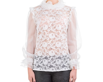 Shirt with lace and silk organza PIECE size (it 42 - eu 38 - uk 10 - us 6) PROMOTIONAL PRICE