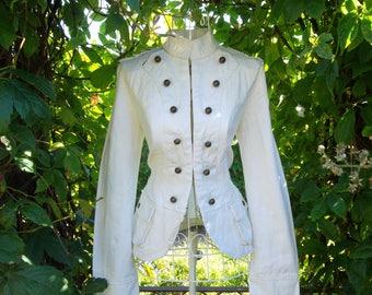 Vintage 80s style Military goth steampunk jacket blazer Size M UK 12
