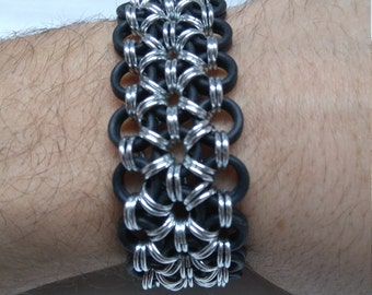 Aluminum + EPDM Rubber Chainmail Bracelet Black And Silver Handmade