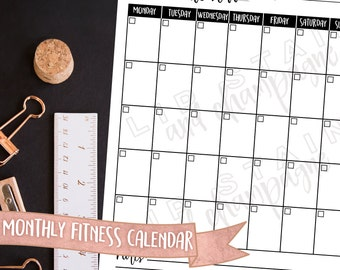 Monthly Personal Fitness Calendar - DIGITAL DOWNLOAD