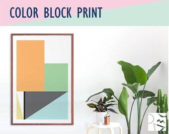 Color Block Art Print - Minimalist Art - Original Design Framed Print - Three Sizes and Three Frame Choices