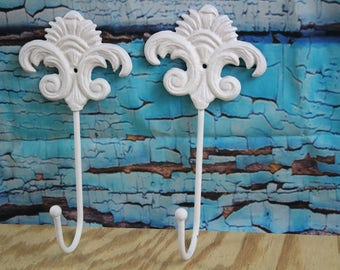 Cast Iron Decorative ornate Wall Hook White Lot of 2