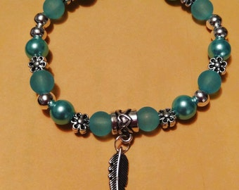 Blue glass pearl feather bracelet beaded with silver metal
