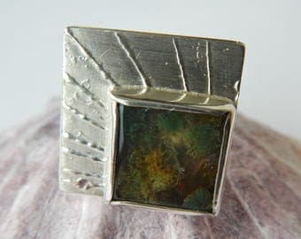 Silver ring with moss agate, UK size R, US size 8 3/4, EU size 59