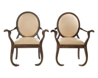 Sculptural Oak Mid-Century Arm Chairs - A Pair