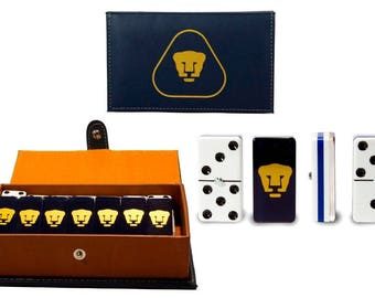 Pumas UNAM Dominoes Game Set Double Six Domino Dominoes Leather Case Futbol Dominoes Great for Party / Gift Family Dominoes Man Cave