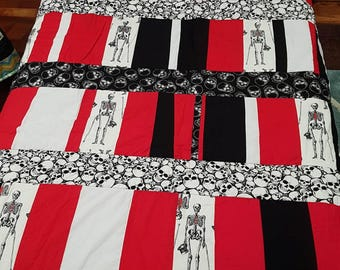 Red Black and White Skeleton, Single bed or Double bed topper, Quilt