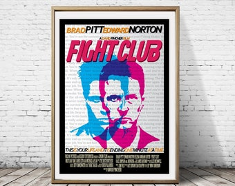 Fight Club Edward Norton Brad Pitt Soap Movie Film Alternative Minimalist Artwork Poster Print Art Deco