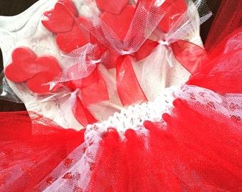 Red & White Heart Tutu