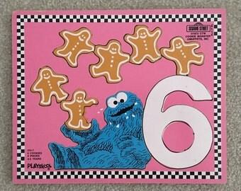 Sesame Street Puzzle, Cookie Monster Vintage Puzzle, Playskool Wooden Puzzle 1973