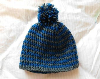 Crochet Blue and Grey Beanie