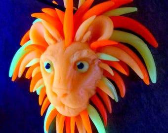 Lion head necklave UV reactive polymer clay