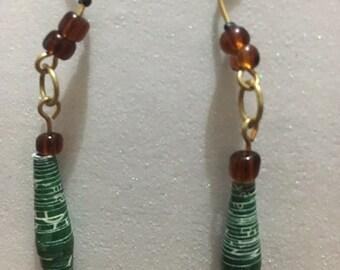 Hand made paper bead dangle earrings -Green