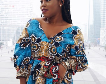 Blouse with puff sleeves African print Ankara top