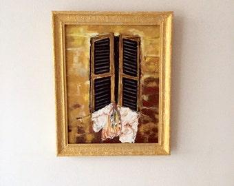 oil paintings in gold tones-open golden window-modern painting-Dim. 40 x 50 cm