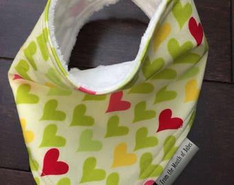 Baby Bandana Bib - Green Hearts