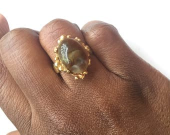 Vintage 1970s Chunky Brown Stone Ring with Antique Gold Toned Adjustable Band