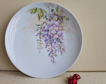 Hand-painted porcelain hanging plate, floral decoration