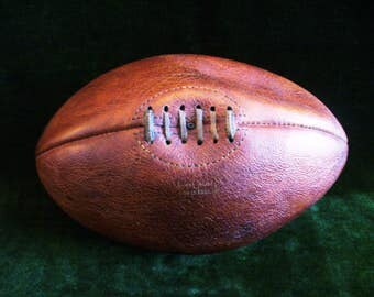 Antique Mark Cross Made In England Leather Rugby Ball