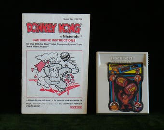 Vintage 1981 Atari 2600 Coleco Donkey Kong Video Game Cartridge With Instructions Book