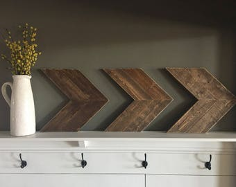Wooden Arrows. Rustic. Stained. Farmhouse. Set of 3. Chevron. Handmade.