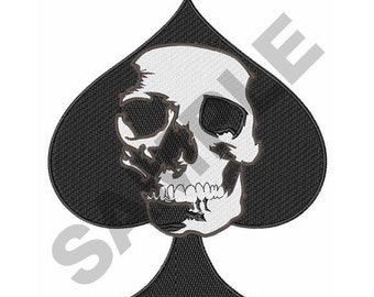 Ace Of Spades - Machine Skull Embroidery Design
