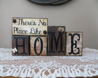 Home Wood Blocks Home Decor Housewarming Mantel Family Place