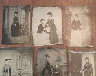 Hustle and Bustle:  Lot of 6 Antique Tintype Photographs of Women Wearing Dresses With Bustles