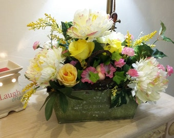 Country Florals in Tin Tub/Country Arrangement/Summer Florals/Mothers Day Arrangement/Summer Floral Display/Silk Spring Floral