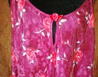 90s Burgundy Floral Slip XL