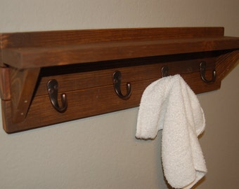 Wooden Towel Rack | Key Rack | Rustic Decor | Wooden Rack with Key Hooks
