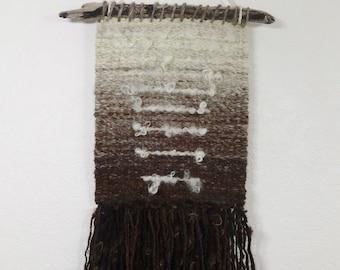 Natural Gradient Hand Woven Wall Hanging from Handspun Yarn brown tan gray cream