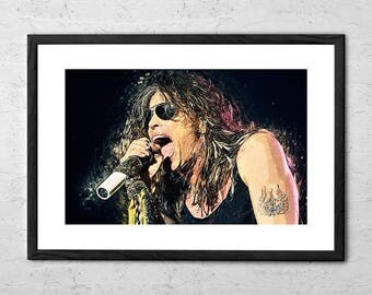 Steven Tyler - Aerosmith - Illustration - Rock Poster - Rock and Roll - Rock Music - Music Poster - Hard Rock - 1980s - Aerosmith Poster