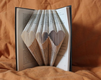 Folded paper hearts-handmade ornament for Furniture lovers books and reading