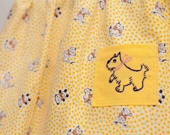 Yellow Scottie Dog Vintage Dress