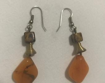 vintage earrings with orange stone