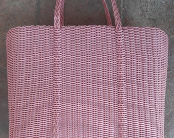 Sturdy Light Pink Plastic Woven Tote Bag / Basket. Handmade in Guatemala. Ideal for Groceries, Summer Bag Pool / Beach.