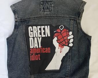 American Idiot Green Day Rock denim vest for KIDS-Size: 12-14