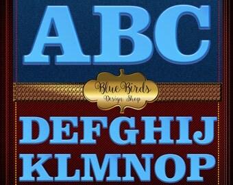 Alphabet - Digital alphabet clip art blue - INSTANT  DOWNLOAD